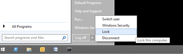 Start - shutdown option windows 2012