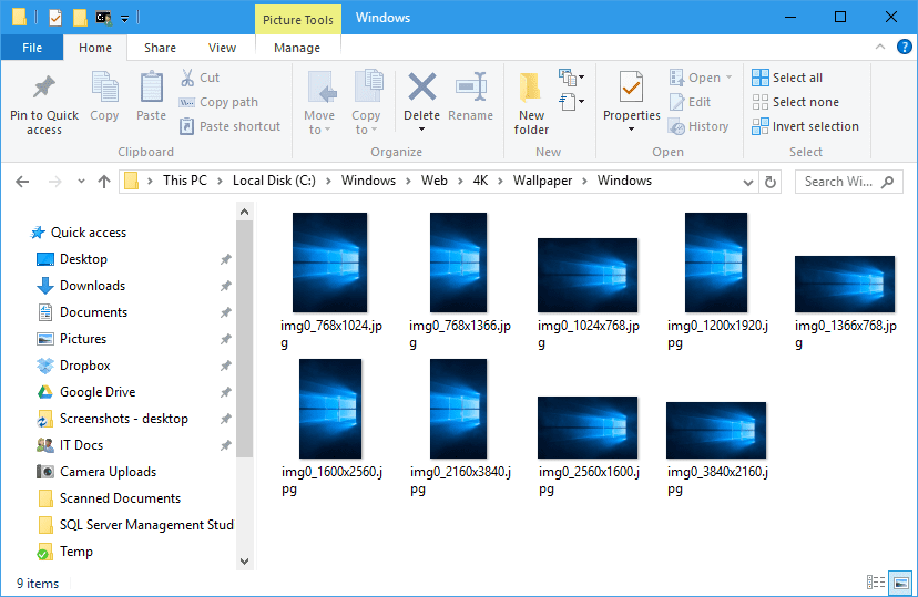 where are windows 10 default wallpapers saved next of