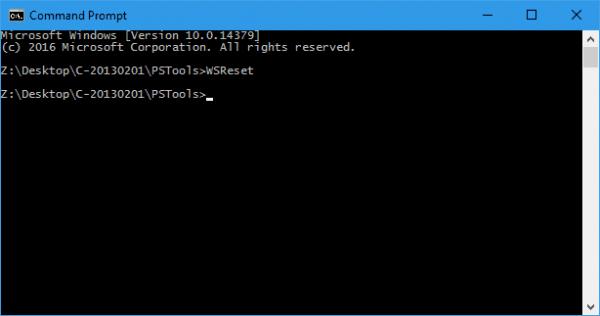 WSReset - command prompt