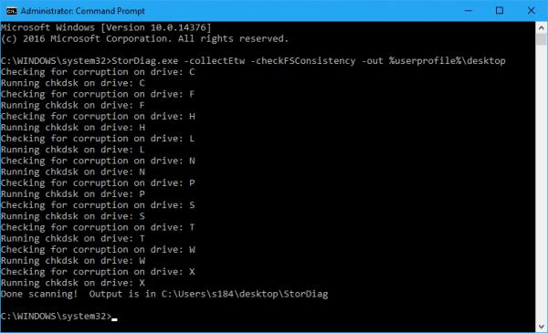 Command Line - StorDiag result