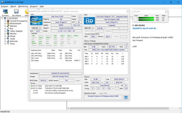 HWiNFO - main screen with summary