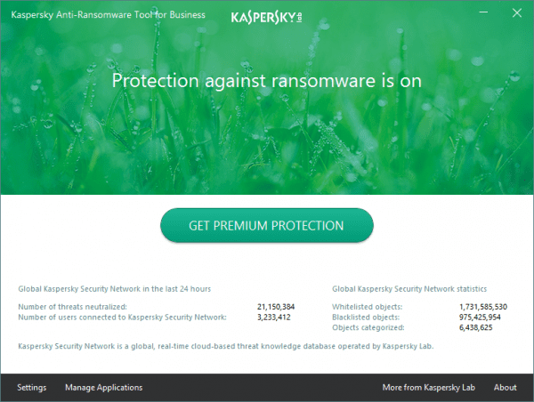 Kaspersky Anti-Ransomware Tool for Business - main screen