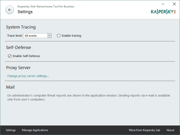 Kaspersky Anti-Ransomware Tool for Business - settings