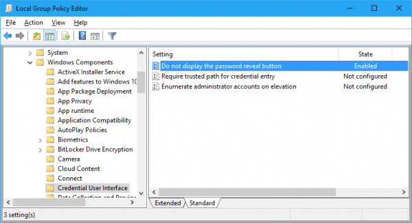 Windows 10 - Group Policy - enable display the password reveal