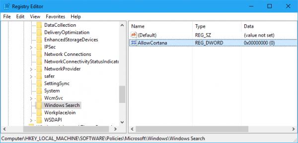 Windows 10 - Registry Disable Cortana