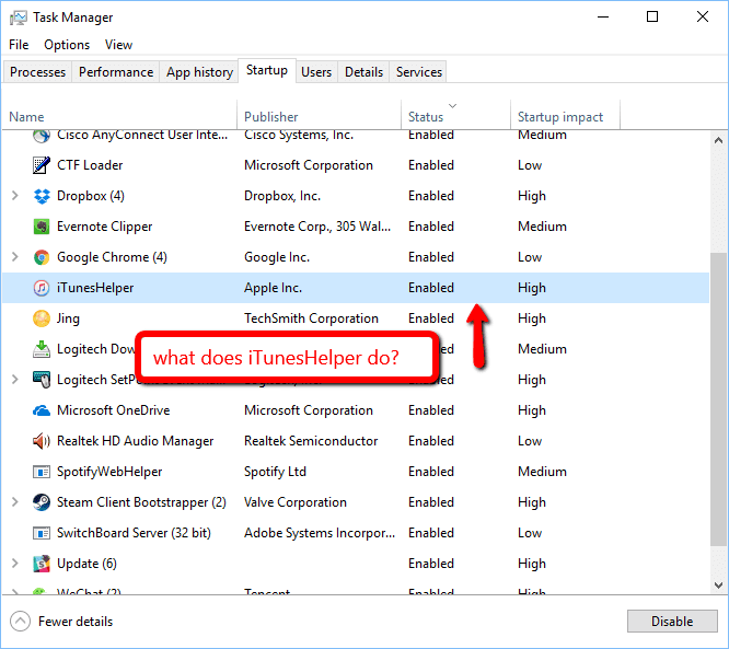 What Is Ituneshelper Safe To Disable Next Of Windows