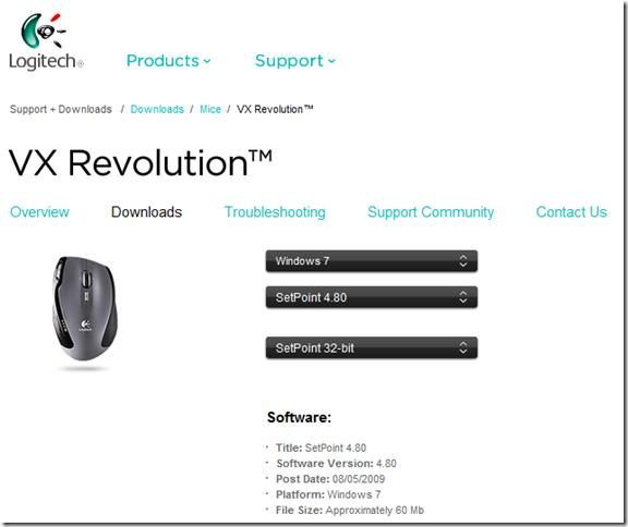 logitech vx revolution driver download